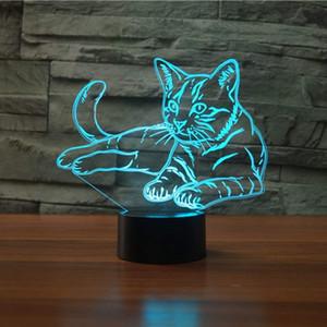 3D Kitty lamba Gece Lambası Dokunmatik Masa Danışma Optik Illusion Lambaları 7 Renk Değiştirme Işıkları Ev Dekorasyon Noel Doğum Günü Hediyesi