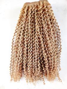Top Qualité Brésilien Kinky Bouclés Humains Vierge Remy Faisceaux De Cheveux Trame Extensions de Cheveux Blonde Foncé Brun
