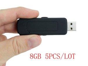 Flash 5PCS / LOT U-disco de 8 GB Audio Digital Voice Recorder USB memoria con sonido activado recodificación flash de conducción grabadora de voz digital, UR09