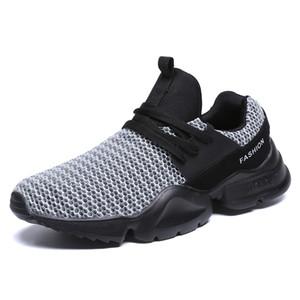 Мужская мода Летняя обувь дышащая сетка зашнуровать Black Light Мужские кроссовки Flats Плюс Размер 39-48 Кроссовки Man