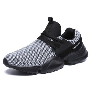 Mode Hommes Chaussures d'été respirant Mesh lacent Black Light Mens Flats Sneakers Plus Size 39-48 chaussures Running Man