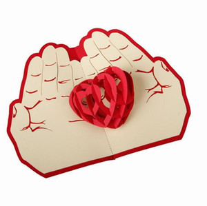 Valentines Day Gift Love in the Hand 3D Pop up Greeting Card Postcard Laser Cut Handmade Wedding Post invitation Card
