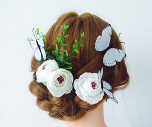 3-Packed a forma di U bianco fiore farfalla Hair Pin Hair Clip accessori per capelli per copricapo da sposa o accessori per la sposa, accessori copricapo