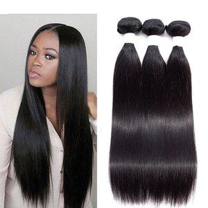 8A бразильский перуанский прямые девственные волосы 3 или 4 пучки 100% необработанные малайзийский Индийский прямые человеческие волосы плетение пучки естественный цвет