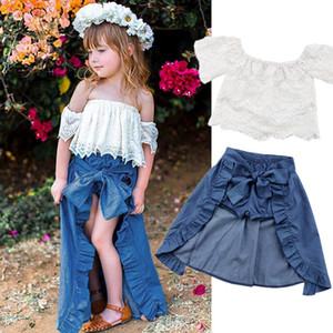 2018 Niños de la manera de la muchacha ropa de verano fuera del hombro del cordón Tops blancos + pantalones cortos de mezclilla Ruffles Bow Skirt Outfit Kids Clothing Set
