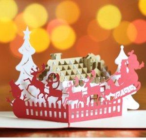 Hersteller Großhandel 3D 3D Weihnachtskarten Deer Car Blessing Card