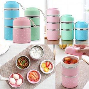 Edelstahl Lunchbox Tragbare Nette Japanische Lunchbox Erwachsene Kinder Isolierung Auslaufsichere Box Reise Picknick Geschirr Freies DHL WX9-458