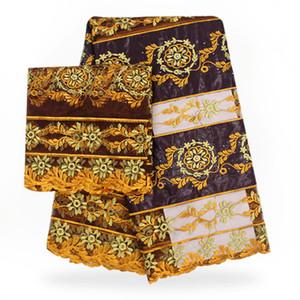 Laces africanos Tecidos para vestidos de casamento Africano Bazin Riche Lace Fabric 2018 Materiais Africano Bazin Riche Getzner com blusa