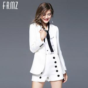 [FRMZ] Outono Inverno Mulheres Jaqueta Moda Branco Senhoras Casacos Escritório Terno Feminino Outerwear Roupas de Manga Longa 67093