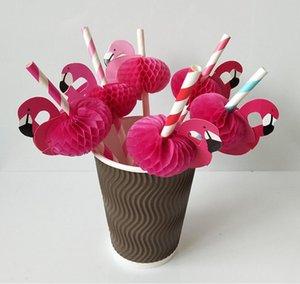 Pipette Flamingo Pipe en papier Flamants roses Flamants roses en nid d'abeille pailles