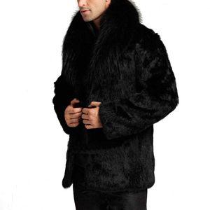Wholesale- 2017 Men Unisex Faux Leather Winter Autumn Solid High Quality Fashion Warm Artificial Fur Coat Winter Jacket 2017