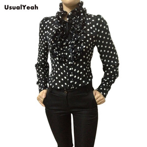 Wholesale- New Hot Fashion Korea Style Vintage Chiffon Polka Dots Women's Body Blouse Tops Shirt Stand Collar Ruffles S M L XL SY0185