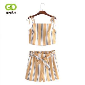 GOPLUS 2018 été Camisole pour femmes Chemises + Shorts Ensembles Spaghetti Strap Backless recadrée Top Costumes Shorts rayé Deux Pièces Set