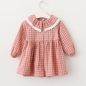 ropa de niña vestido de niña de manga larga Diseño de tela escocesa cuello de panda vestido vestido elegante de la muchacha ropa de niños de algodón 100%