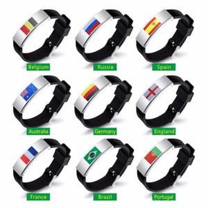 Dünya Kupası Bayrağı Bilezik Futbol Hayranları Için Ulusal Bayrak Charm Bilezik Silikon Bileklik Hediyelik Eşya Reklam Promosyon Hediyeler Yeni Gelenler