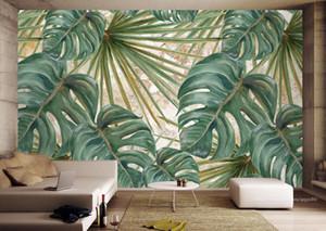 El-boyalı Zemin Fotoğraf Kağıdı Bitki yeşil yapraklar Oturma Odası Dekoratif Resimler Için Duvar Kağıtları