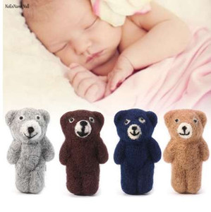 NoEnName-Null Newborn Photography Props Accessories Felt Knit Teddy Bear Infant Handmade Toy