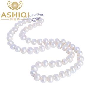 ASHIQI Natürliche Frischwasserperle Halskette 8-9mm Near Runde Perle Schmuck für Frauen Geschenk X912