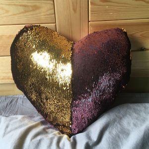 Heart-Shaped design Pailletten Meerjungfrau Kissenbezug Abdeckung Reversible Sofa Kissenbezug Magie Kissenbezüge Cafe Home Dhl-freies Verschiffen