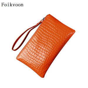 Foikvoon Fashion Women Bags PU Leather Alligator Woman Zipper Bags Candy Colors Embossed Ladies