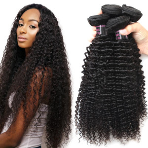 10A Brasiliano Kinky Curly Weave Human Hair Capelli umani 4 Bundles Deal 100% peruviano remy remy estensioni di capelli colore naturale 8-28 pollici spedizione gratuita