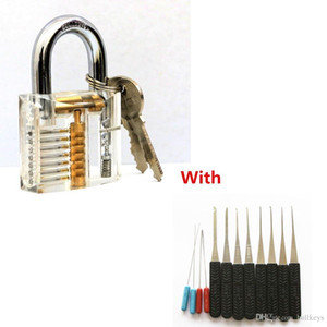 DHL 50pcs Transparent Visibile Cutaway Practice Lucchetto Lock With Broken Key Rimozione Ganci Lock Extractor Set Lock Picks Strumenti