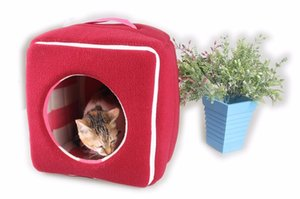 Small Pet Beds Winter Warm Square House For Puppies and Cats Foldable Pet Sofa