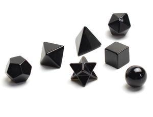 Chakra natural, ágata negra, cristal tallado, sanación, sólidos platónicos, símbolos de geometría sagrada, con estrella merkaba