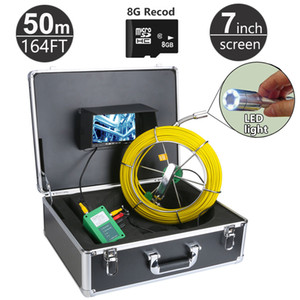 """50M 164ft Sewer Pipe Inspection Camera System DVR Function with 8GB Card 7"""" Monitor 1000TVL Snake Drain Waterproof Video Camera"""