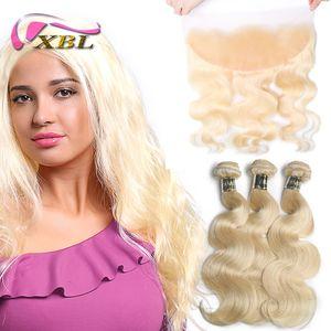 Xblhair Virgin Virgin Body Wave 613 paquetes de rubio con 3 paquetes de extensiones de cabello humano frontal y un cierre frontal de encaje