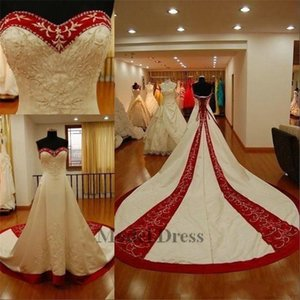 Beaded Embroidery Red and White Satin Wedding Dresses 2018 Sweetheart Chapel Train Corset Lace Up Back A Line Gorgeous Bridal Gowns