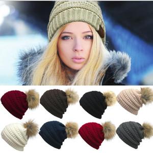 Женская мода вязаная шапка осень зима теплая шапка Skullies бренд шапочки хип-хоп шерсть шляпы 9 цвет KKA2684
