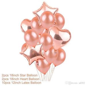 Palloncino stagnola in oro rosa con cuore stella Set acquazzone in lattice con decoro in oro Decorazione del partito Bridal Shower Romantic Wedding 5 2zx dd