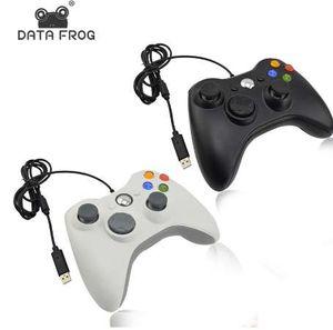Data Frog Gamepad vibrazione cablata in bianco e nero con cavo USB Joystick di gioco per PC di alta qualità