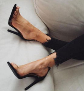 2018 new style women high heels sandals transparent material shoes sandals super high heel simple party dress shoes