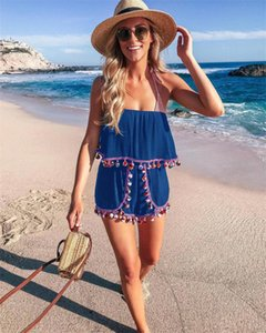 Fashion Tassels Sexy Strapless Playsuits Jumpsuit Women's Casual Beach Rompers Summer One Piece Shorts Overalls 4 Solid Colors