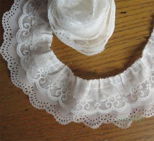 5 yards Bianco a 3 strati Pieghettato Organza Lace Ribbon Gathered Mesh Fabric Handmade Fai da te Abito da sposa Lace Trim Craft cucito