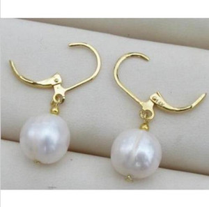 10x11mm perfect white Australia south sea pearl dangle earring 14K golden hook