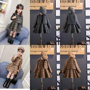 Abbigliamento per bambini coreano Imposta le ragazze Autunno e inverno Gilet di lana gilet + berretto Cappotto Suit a tre pezzi