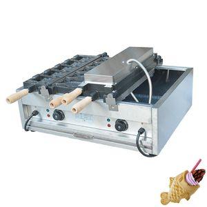 Elektrikli dondurma balık şekli waffle makinesi makine / Ticari ağzı açık Taiyaki balık waffle makinesi yapma