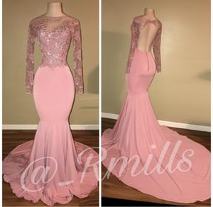 Rosa Perlen Lace Mermaid Silhouette Prom Kleider 2019 Rundhalsausschnitt rückenfreie lange Ärmel Custom Made Abendkleider BA7912