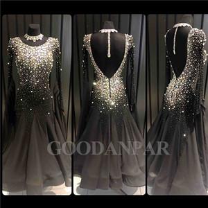 Бальные танцы платье новый дизайн женщина современный вальс танго танец платье стандартный сексуальный черный с длинным рукавом спандекс