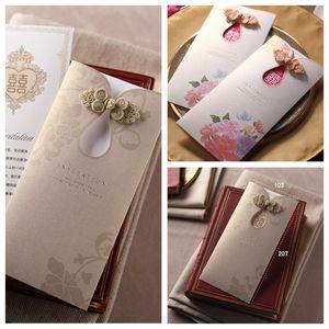 2021 Großhandel Laser-Schnitt-Hochzeits-Einladung Karten Personalisierte Formal Wedding Party Druck Einladungskarte mit Umschlag Sealed-Karte