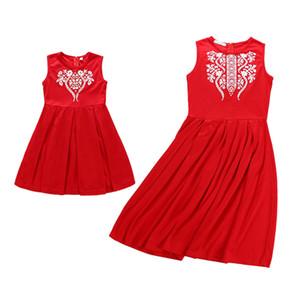 2018 новая Summmer мать и платье без рукавов дочерей цветочной печатных красных платьев семьи соответствия одежды