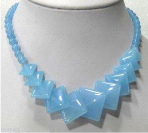 """Nuevo 1026 +++ - piedra natural hermoso cielo azul cuadrados redondos Gems cuentas de collar de 17"""""""