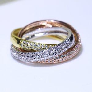 Üçlü Çevreler Altın / Gül Altın / Gümüş Yüzük Üç Renk Lüks Takı 925 Gümüş Açacağı CZ Yüzük Kadınlar Düğün Parmak Yüzük Severler Hediye Için
