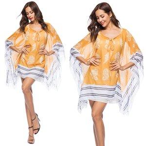 Пляж Wrap Cover Up Dress для женщин твердые негабаритных блузка купальный костюм Купальник Cover Ups богемной одежды печати повседневные платья для женщин