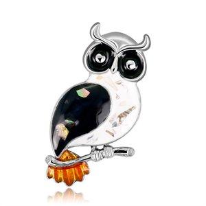 Gufo Abalone Shell Crystal Brooch Pins Vintage Ladies Shirt Accessories Wedding Jewellery
