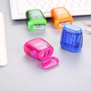 Doppi fori Matita di plastica Temperamatite Colore caramello Matita standard trasparente Macchina da taglio Articoli di cancelleria per ufficio