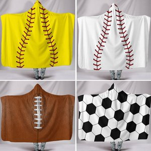Party Supplies Baseball Softball Und Fußball Poncho Für Kinder Erwachsene Oberbekleidung Blusen Hoodies Kleidung Warme Wrap Schal Cape Mantel WX9-547